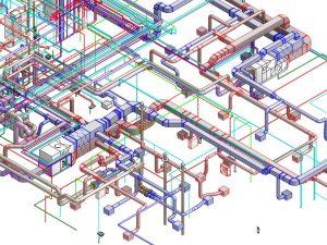 Modélisation ou vue 3D de gaines de ventilation pour l'industrie
